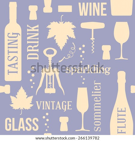 Wine and drinking vintage seamless pattern, two colors, with corks, corkscrew and vine leaf - stock vector