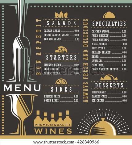 Wine and food menu design concept. Restaurant menu design. Abstract menu layout concept for cafe bar or bistro on dark black background. - stock vector