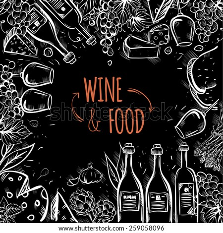 Wine and food vector background. hand drawn illustration - stock vector
