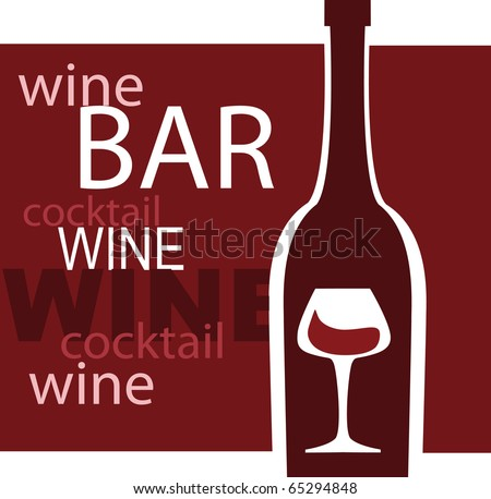 wine and glass vector design template, bar menu template illustration - stock vector