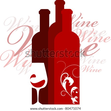 wine and glass vector design template, vector illustration - stock vector