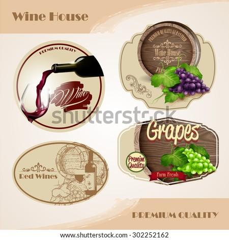 wine badges - stock vector