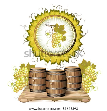 Wine barrel  with white grapes - stock vector