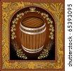 wine beer banner barrel advertising - stock vector