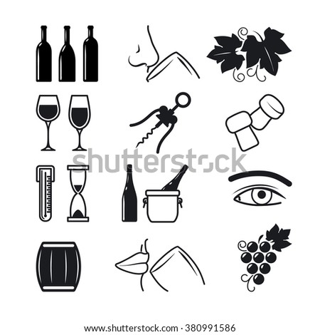 Wine black icons on white background set. The process of wine making and sommelier work. Vector illustration - stock vector