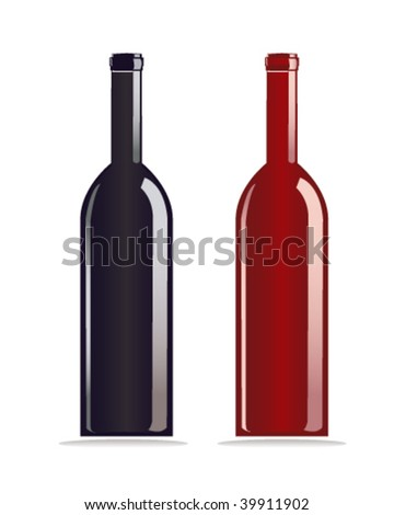 wine bottle - stock vector