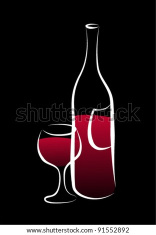 Wine bottle and a glass