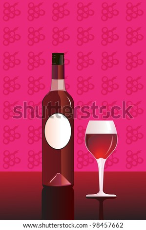 Wine bottle and glass - stock vector
