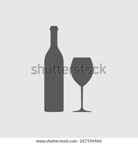 Wine bottle and wine glass silhouette isolated on white background. Vector icon or sign. - stock vector