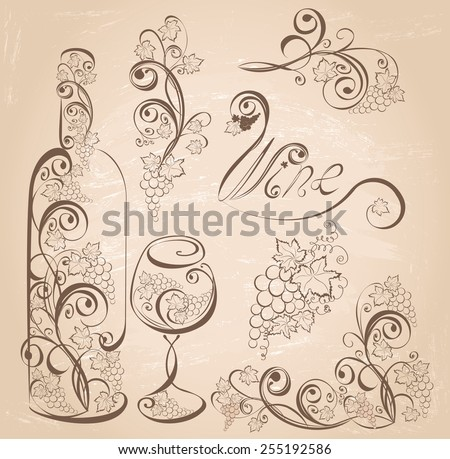 Wine bottle and wineglass with grapevines on vintage grunge background . Vector design elements.  - stock vector