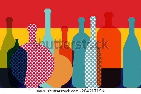 Wine bottle illustration. Vector. - stock vector
