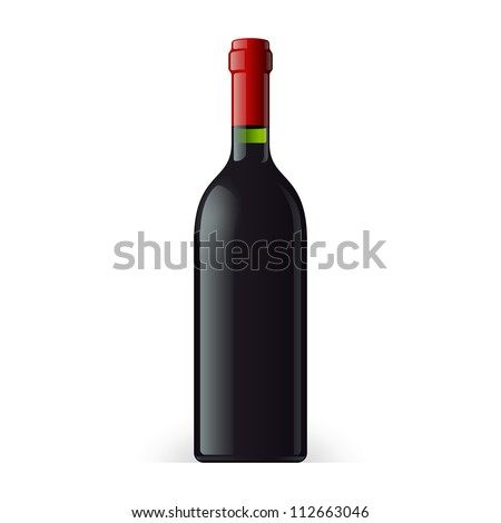 Wine Bottle On White Background Isolated. Ready For Your Design. Product Packing Vector EPS10 - stock vector