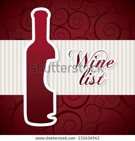 wine bottle over red background. vector illustration - stock vector