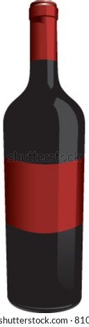 Wine bottle with blank label - stock vector