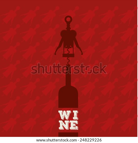 Wine bottle with corkscrew vector. Red background - stock vector