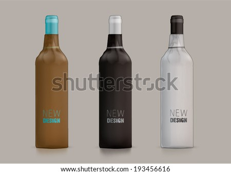 Wine bottle wrapped in paper. Template for new design