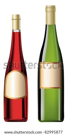 wine bottles on the white background - stock vector