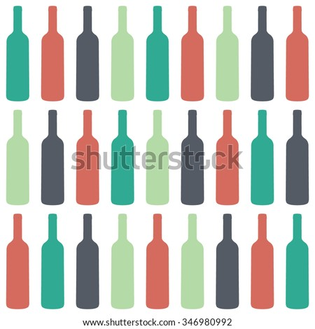 Wine bottles seamless pattern, vector
