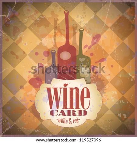 Wine Card design template, retro style. Eps10. - stock vector
