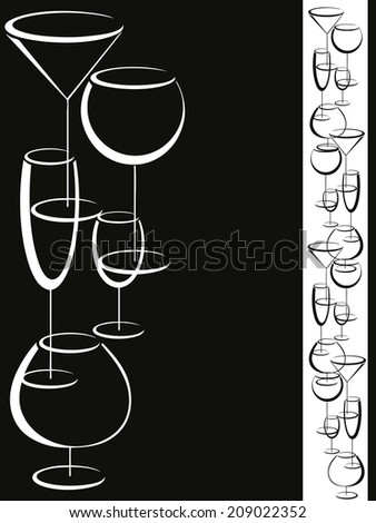 Wine card menu with glasses of alcohol drinks