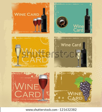 Wine card set - stock vector