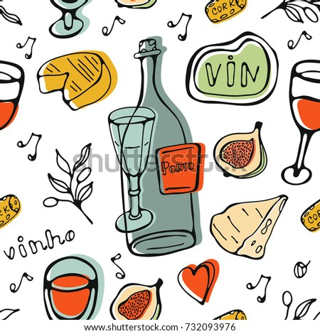 Wine collection pattern. Hand drawn seamless pattern made of wine related graphic elements
