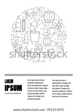 Wine design elements in circle shape - corckscrew, bottles, glasses, wine splashes. Perfect winedesign element for flyer, banner or advertising campaign. - stock vector