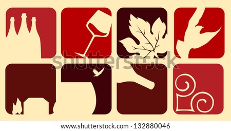 Wine elements - stock vector