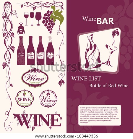 Wine elements, labels and menu - stock vector