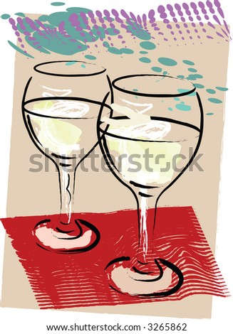 Wine for two is the subject of this grunge style illustration. - stock vector