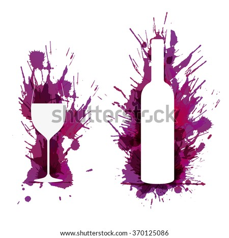 Wine glass and bottle in front of colorful grunge splashes - stock vector