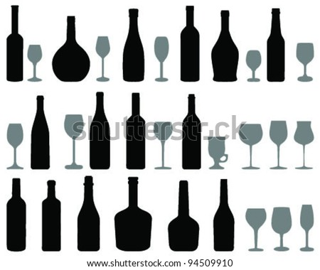 wine glass and bottle silhouettes, vector - stock vector