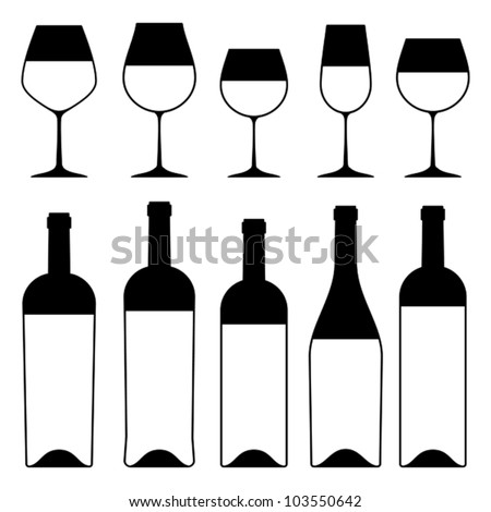 Wine glass and bottles silhouettes, vector. - stock vector