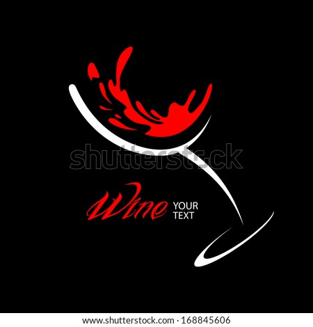Wine glass design silhouette in vector format - stock vector