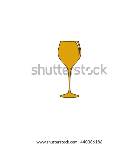 wine glass Flat yellow thin line symbol on white background. Vector icon - stock vector