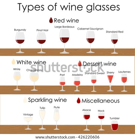 Wine glass set or classification collection isolated on white on wooden shelves. Vector illustration. - stock vector
