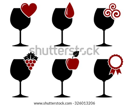 wine glass set with grape, heart and drop on white background - stock vector