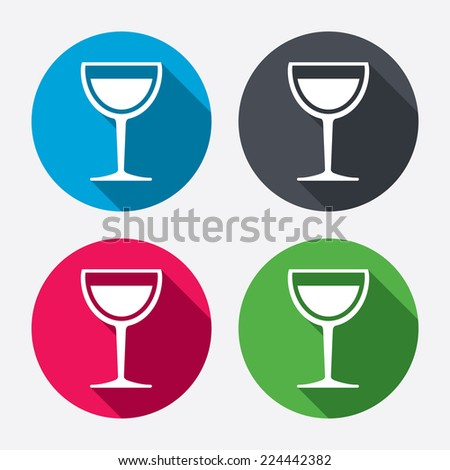 Wine glass sign icon. Alcohol drink symbol. Circle buttons with long shadow. 4 icons set. Vector - stock vector
