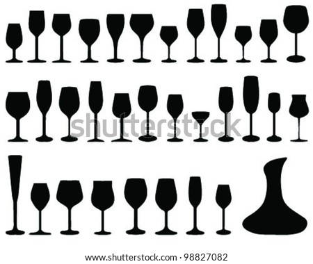 wine glass silhouettes, vector - stock vector