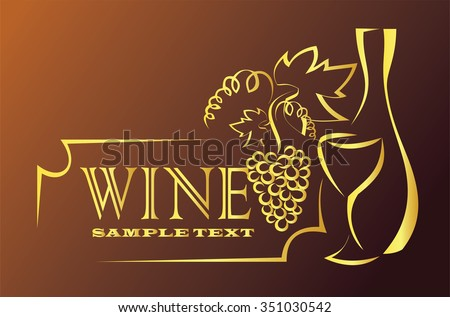 wine, glasse of wine, bottle and grapes - stock vector