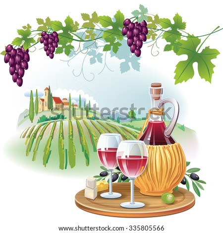 Wine glasses, bottle and ripe grapes in vineyard - stock vector