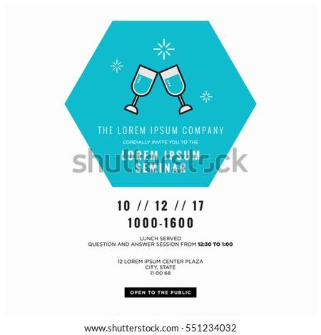 Wine Glasses Cheers Business Seminar Invitation Stock Vector ...