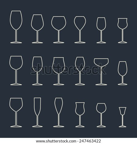 Wine glasses icon set made in vector in flat minimalist style. Perfect for any business related to the wine production and consumption. - stock vector