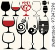 wine glasses silhouettes - stock vector