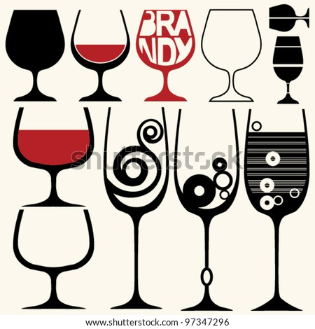 wine glasses silhouettes - stock vector