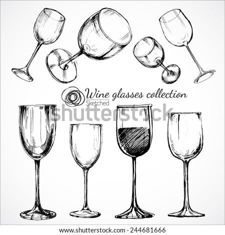 Wine glasses - sketch and vintage illustration - stock vector