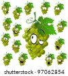 wine grape with many expressions - stock vector