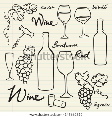 Wine & grapes icons doodle vector illustration - stock vector
