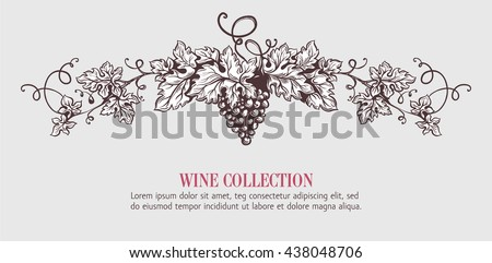 Wine grapes wreath template design. Vector illustration. Sketch style design. Red wine, white wine. Handdrawn grapes. - stock vector
