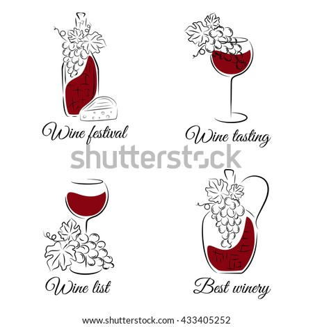 Wine hand drawn vector set. Can be used for wine list, menu restaurant, logo, emblem, wine tasting bar or winery illustration. - stock vector